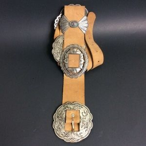 "bebe Leather Concho Belt 32""-36"" Western Hip Gypsy"